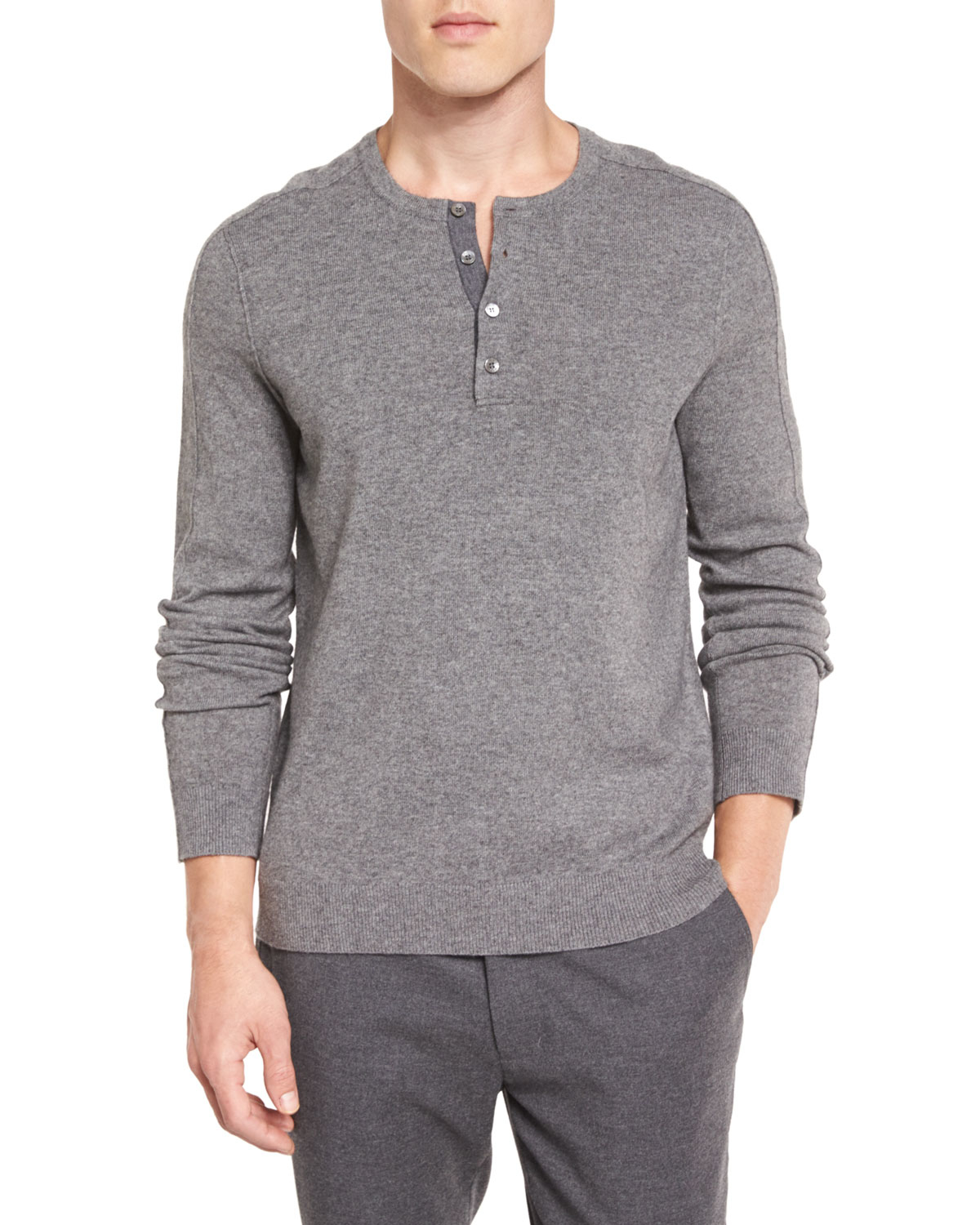 Warm wool sweater like those worn by the British Commandos in World War II. Excellent resiliency and shape retention. Four-button neck style and turn-back cuffs.