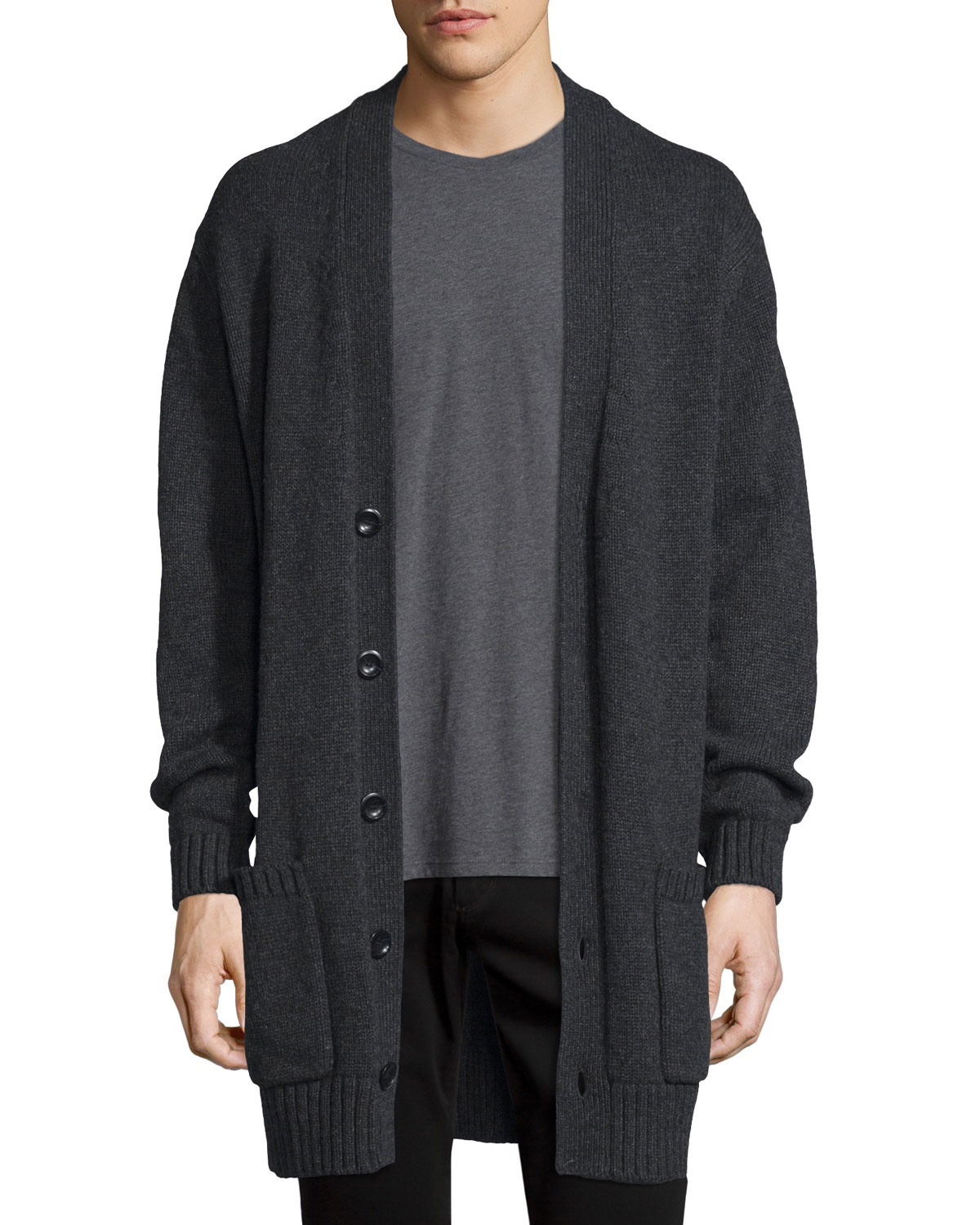 Vince Ribbed-trim Knit Cardigan Coat for Men | Lyst