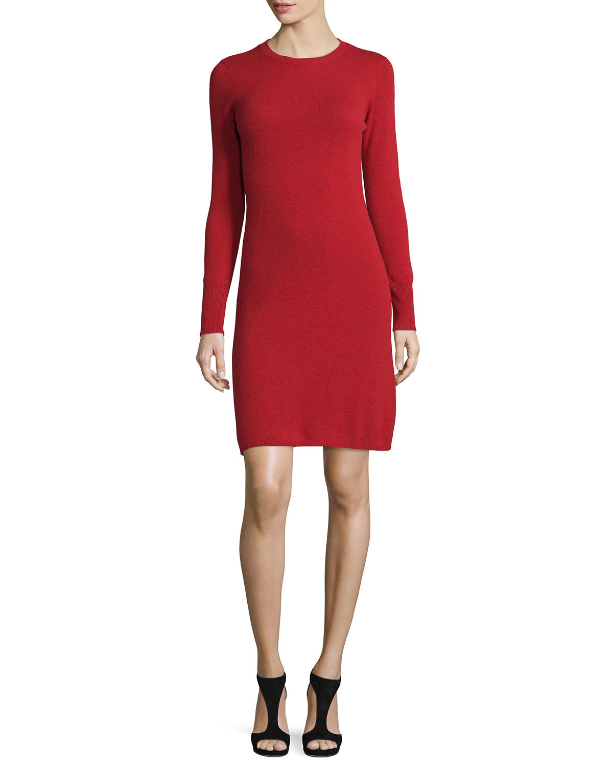 Neiman marcus Cashmere Crewneck Sweater Dress in Red | Lyst