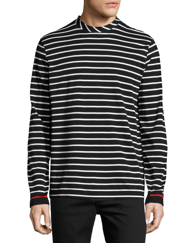 Lyst mcq striped long sleeve t shirt in black for men for Mens striped long sleeve t shirt