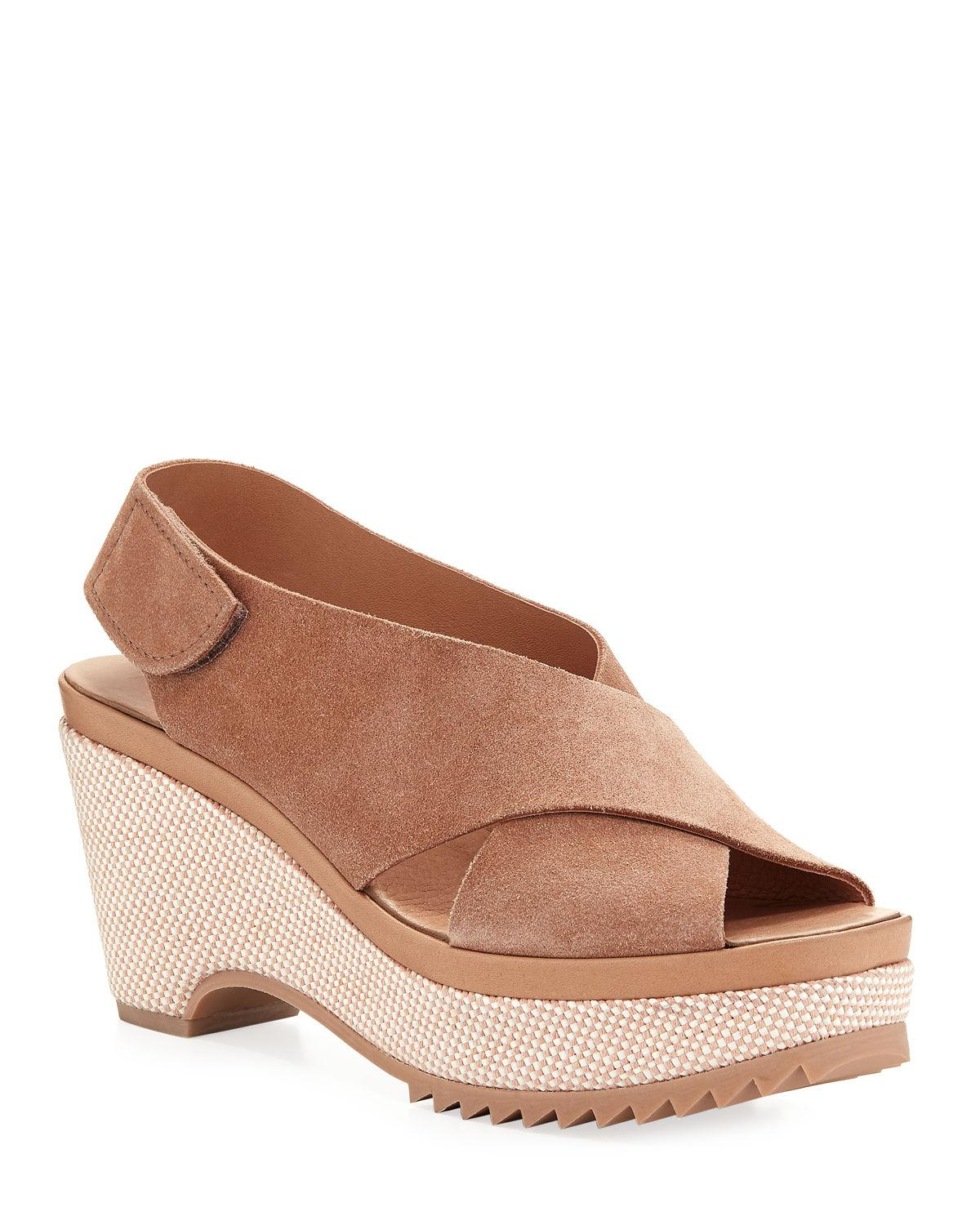 9ff8f4ae5ee Lyst - Pedro Garcia Fatema Suede Wedge Sandals in Brown