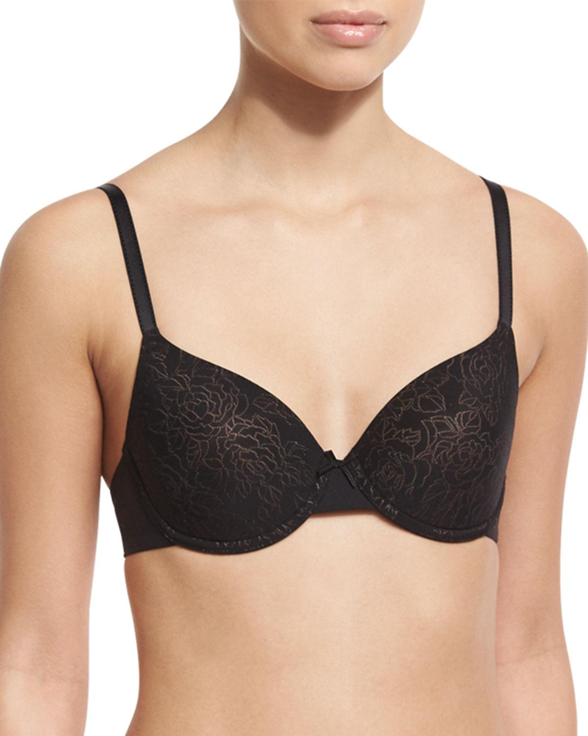 Chantelle velvet touch memory t shirt bra in black lyst for Chantelle mademoiselle memory foam t shirt bra