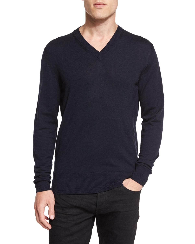 lyst tom ford lightweight merino v neck sweater in blue. Black Bedroom Furniture Sets. Home Design Ideas
