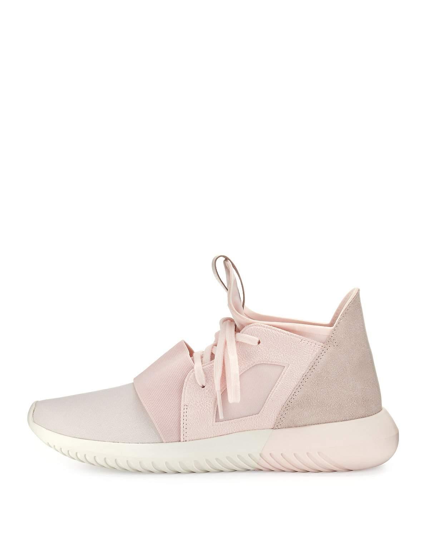 sale retailer 4cd56 e232c get lyst adidas originals tubular defiant suede paneled sneakers in pink  a2df9 c71cc