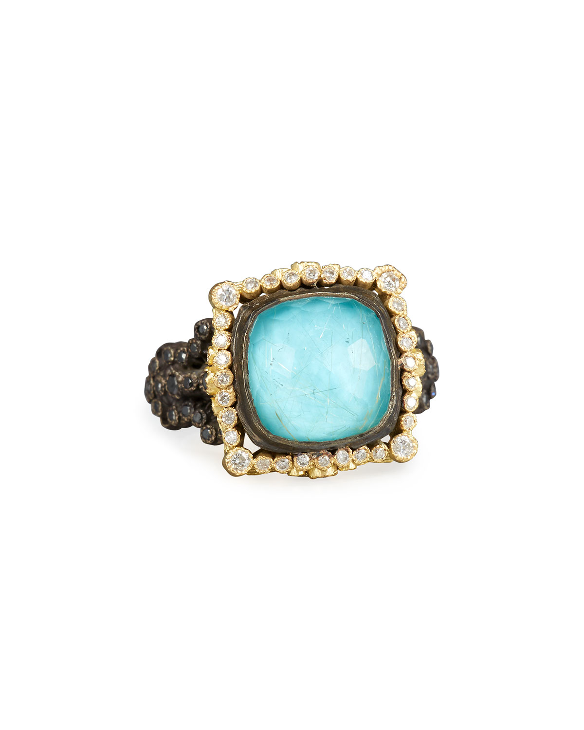 Armenta Old World Midnight Turquoise & Quartz Doublet Ring with Champagne Diamonds zlWvg7