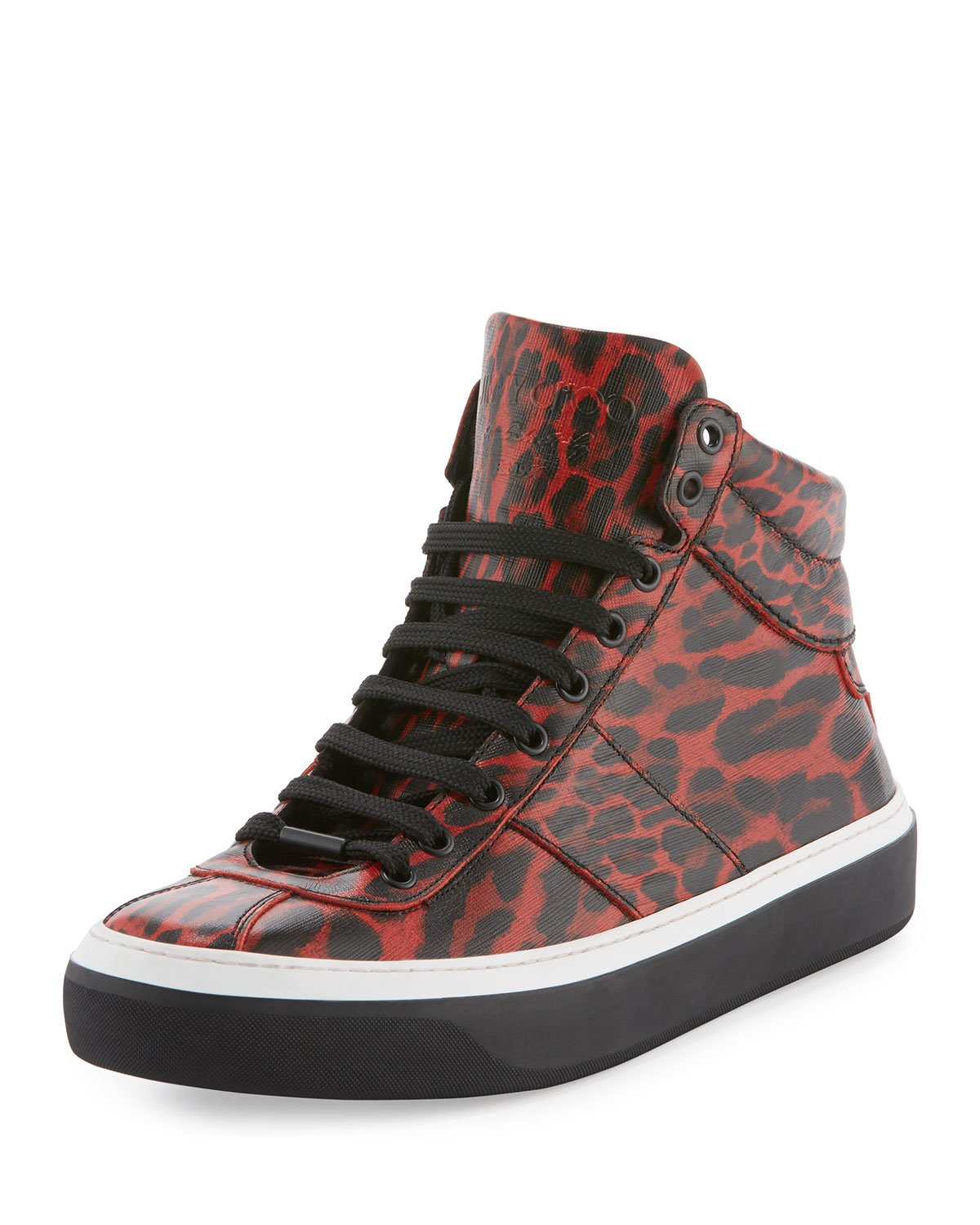 jimmy choo belgravia leopard print leather high top sneaker in red for men save 21 lyst. Black Bedroom Furniture Sets. Home Design Ideas
