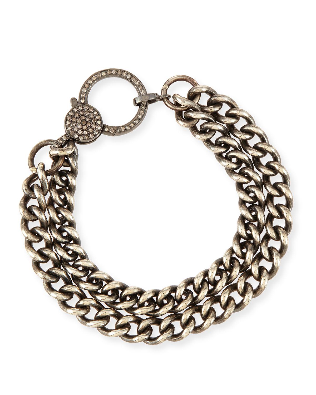 Sheryl Lowe Oxidized Silver Curb Chain Bracelet With