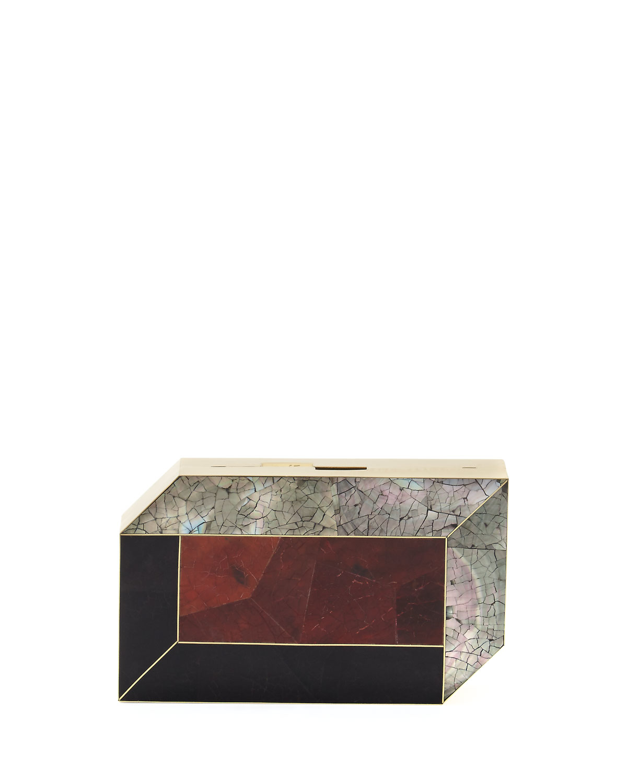 Rafe Nouveau Shell Géométrique York Pia Minaudiere, Noir / Rouge