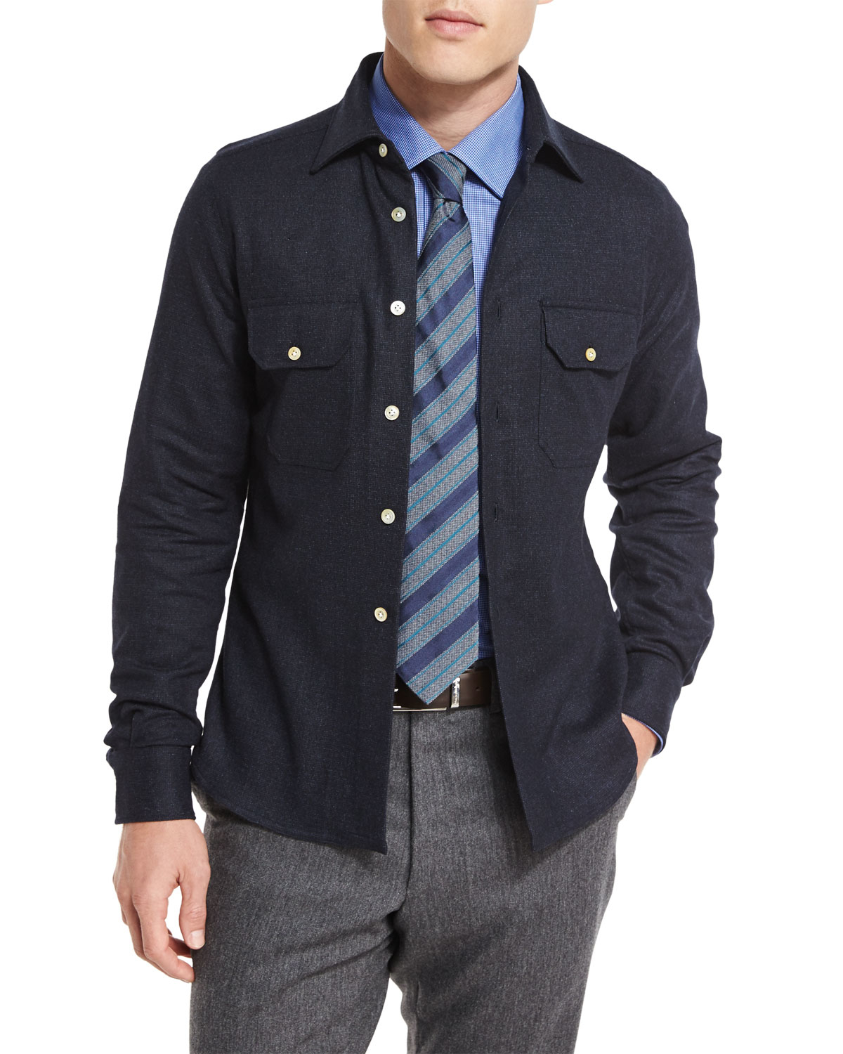 Kiton Wool-blend Over-shirt Jacket in Blue for Men | Lyst