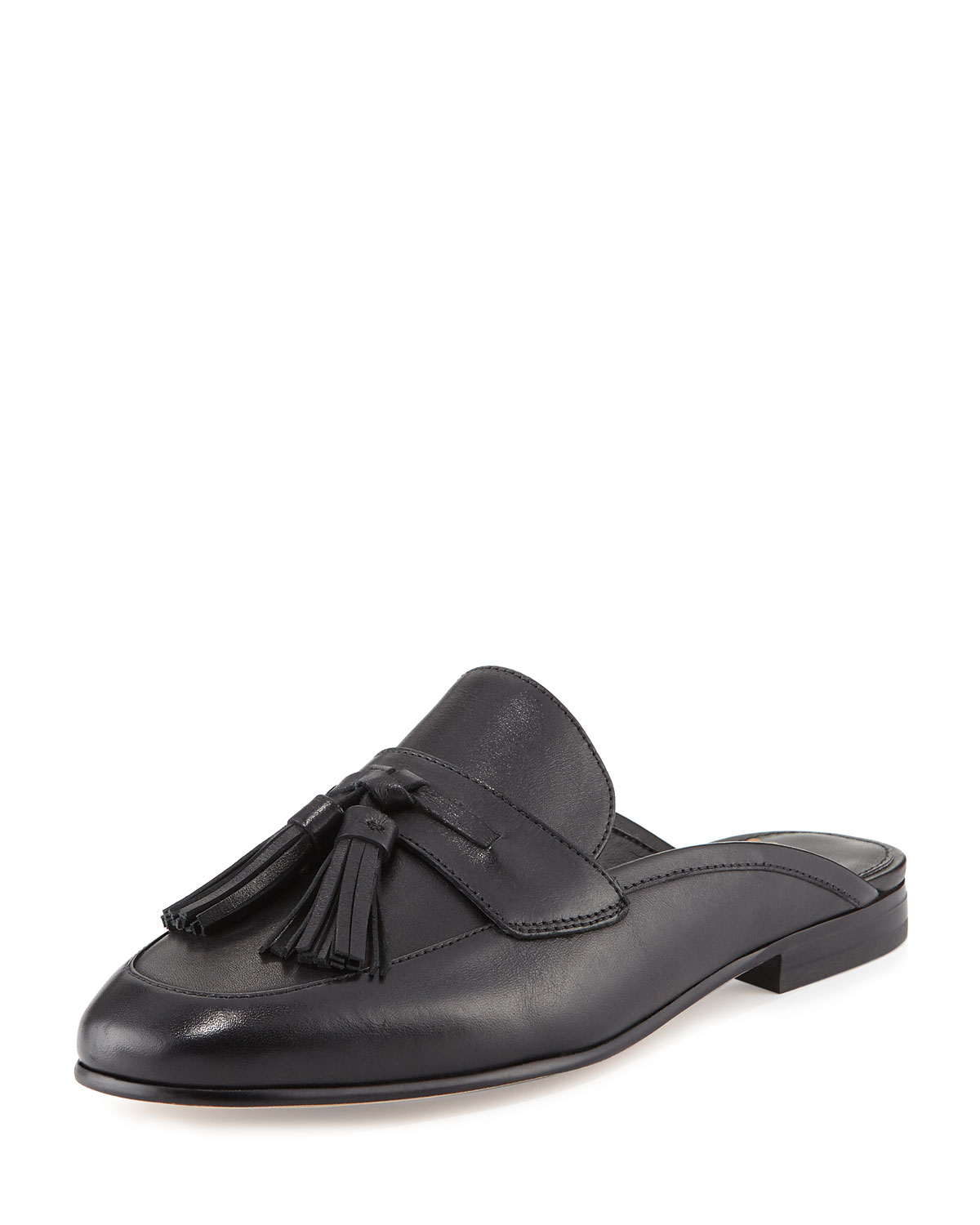 Leather Mule Shoes With Tassels
