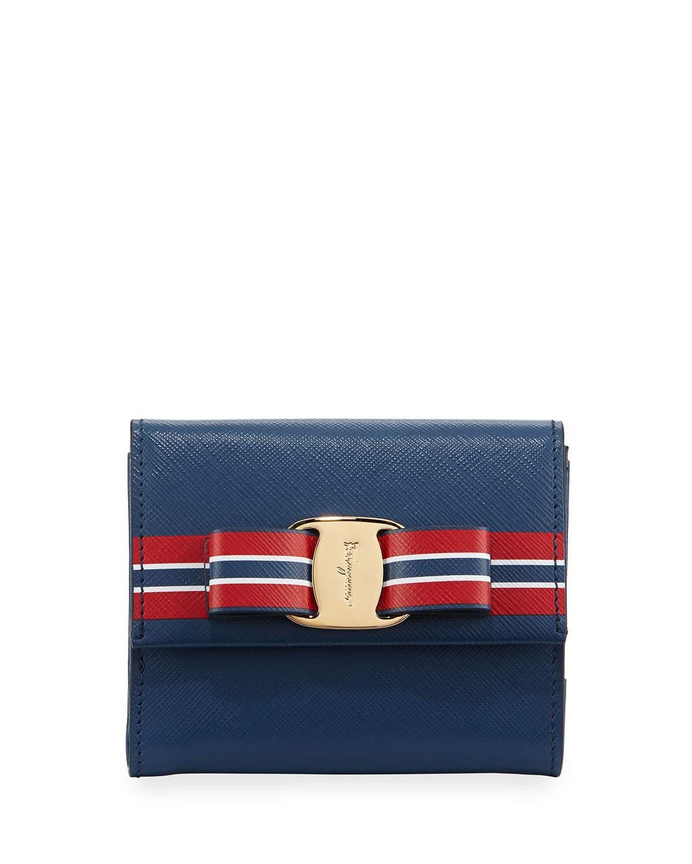 ferragamo vara striped french wallet in red lyst