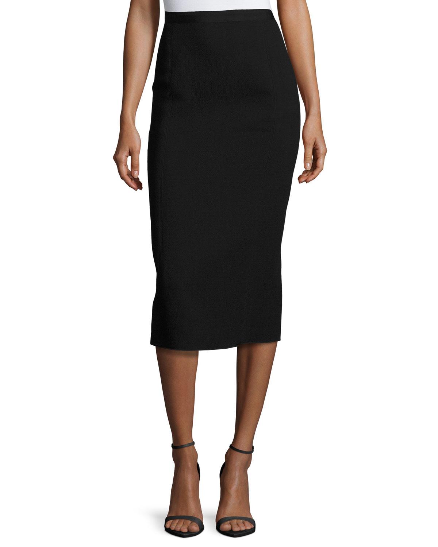 oscar de la renta wool blend pencil midi skirt in black lyst