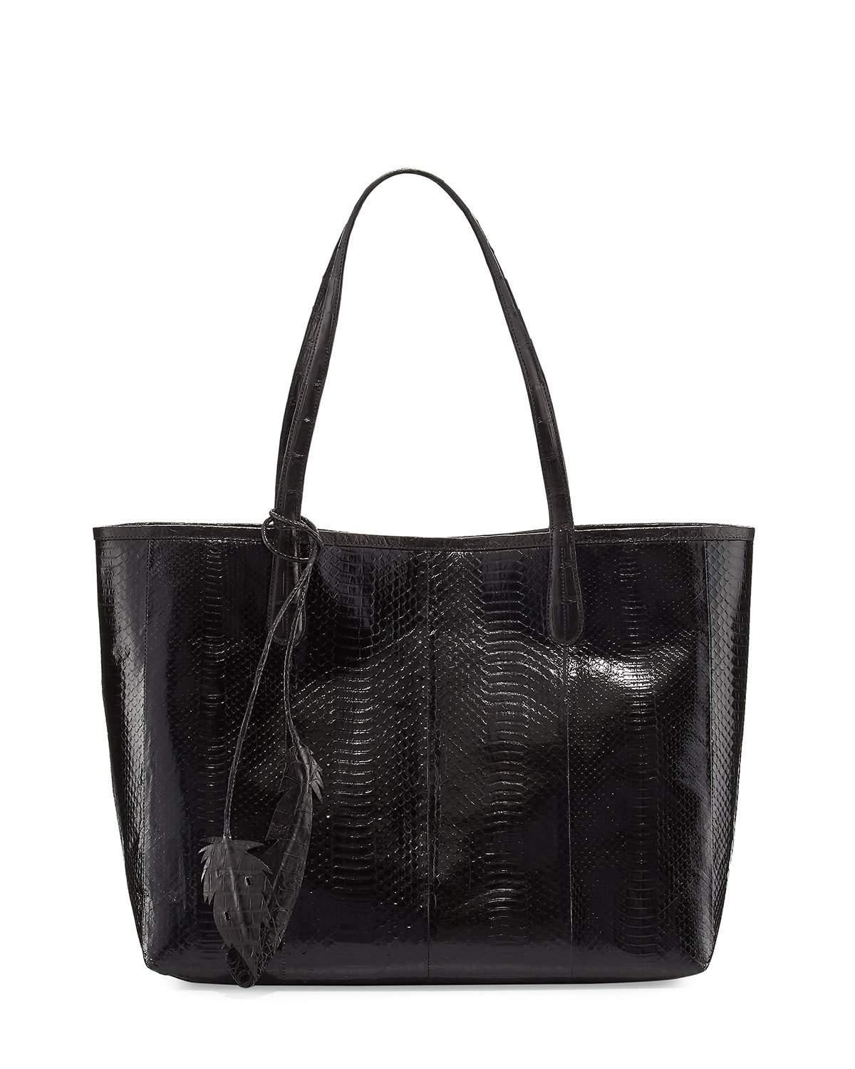Nancy gonzalez erica crocodile leaf tote bag in black lyst for Nancy gonzalez crocodile tote