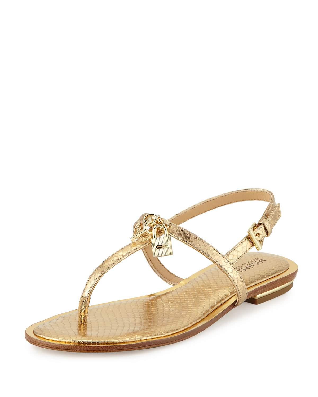 e3fa8daa78831 Lyst - MICHAEL Michael Kors Suki Lock Charm Thong Sandal in Metallic