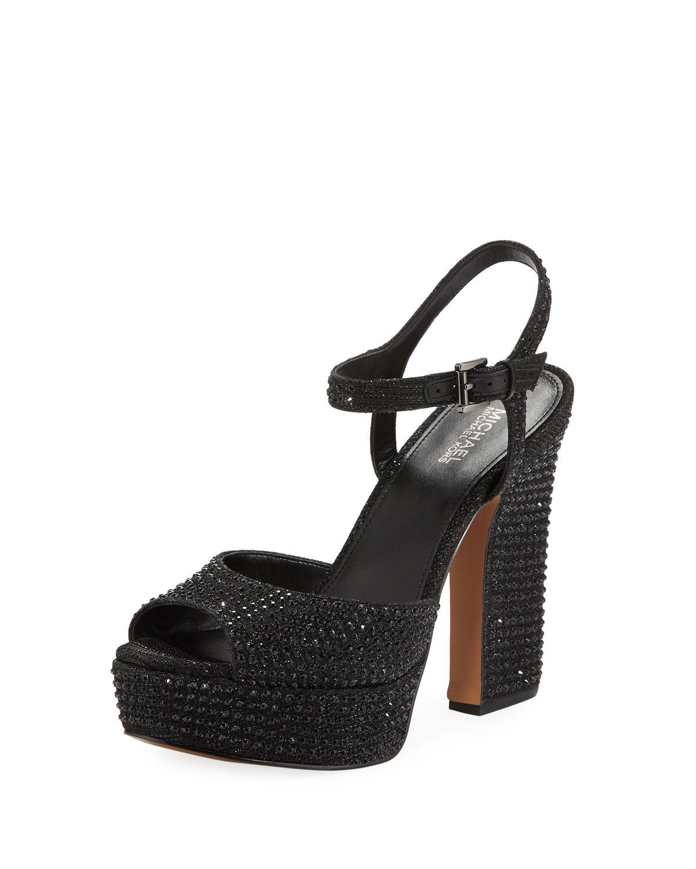 63c3358e4fa2 Lyst - MICHAEL Michael Kors Bennett Crystal Platform Sandals in Black