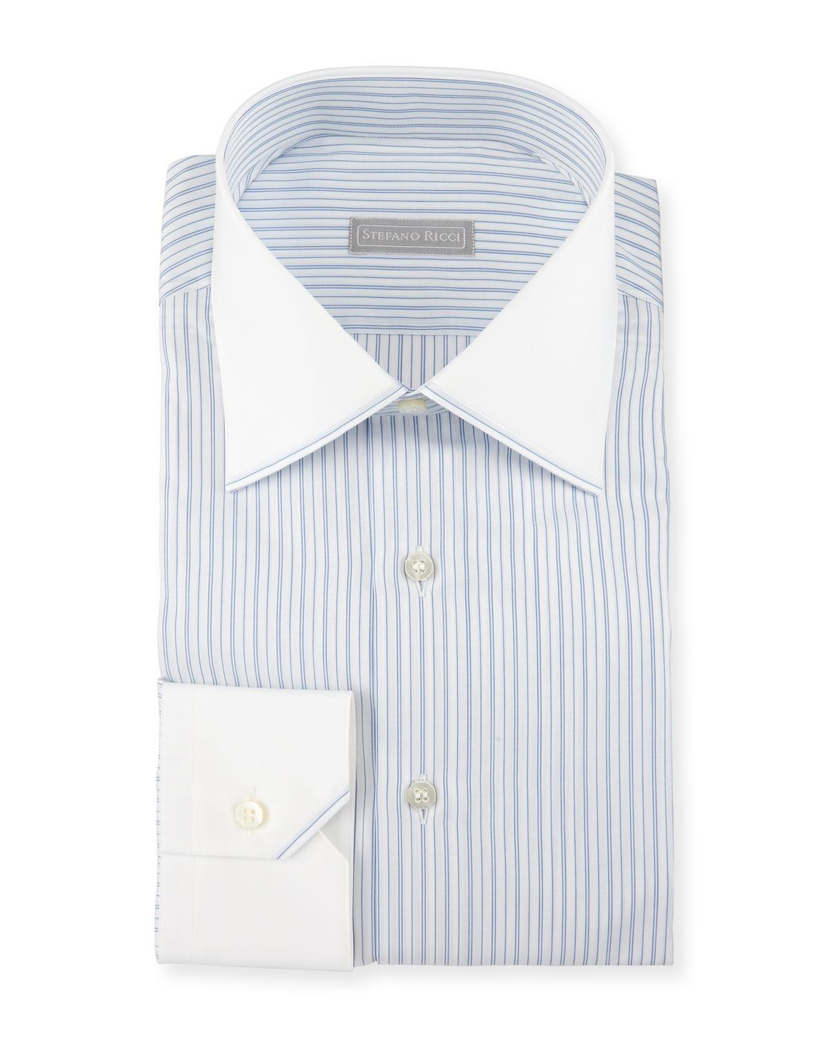 Stefano ricci contrast collar cuff striped dress shirt in for Mens dress shirts with contrasting collars and cuffs