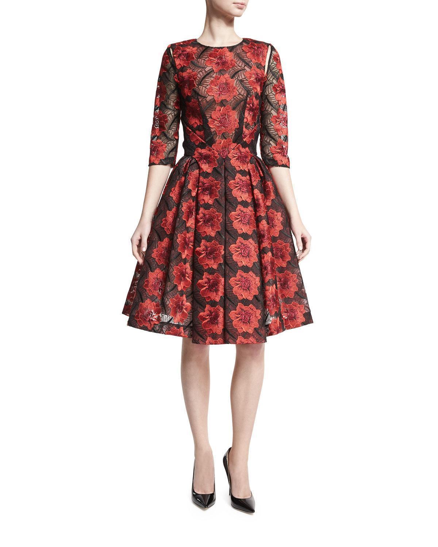 Zac Posen floral-embroidered tulle dress. Crew neckline. Three-quarter ...