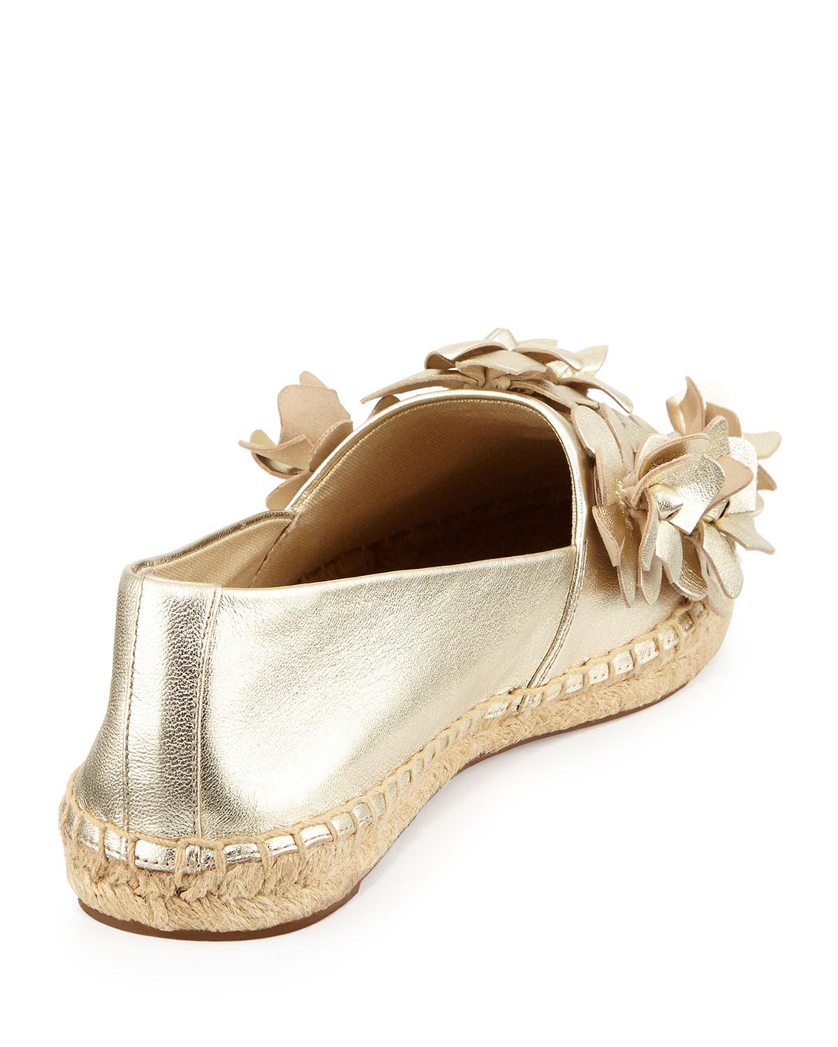 Lyst Tory Burch Blossom Leather Espadrille Flat In Metallic
