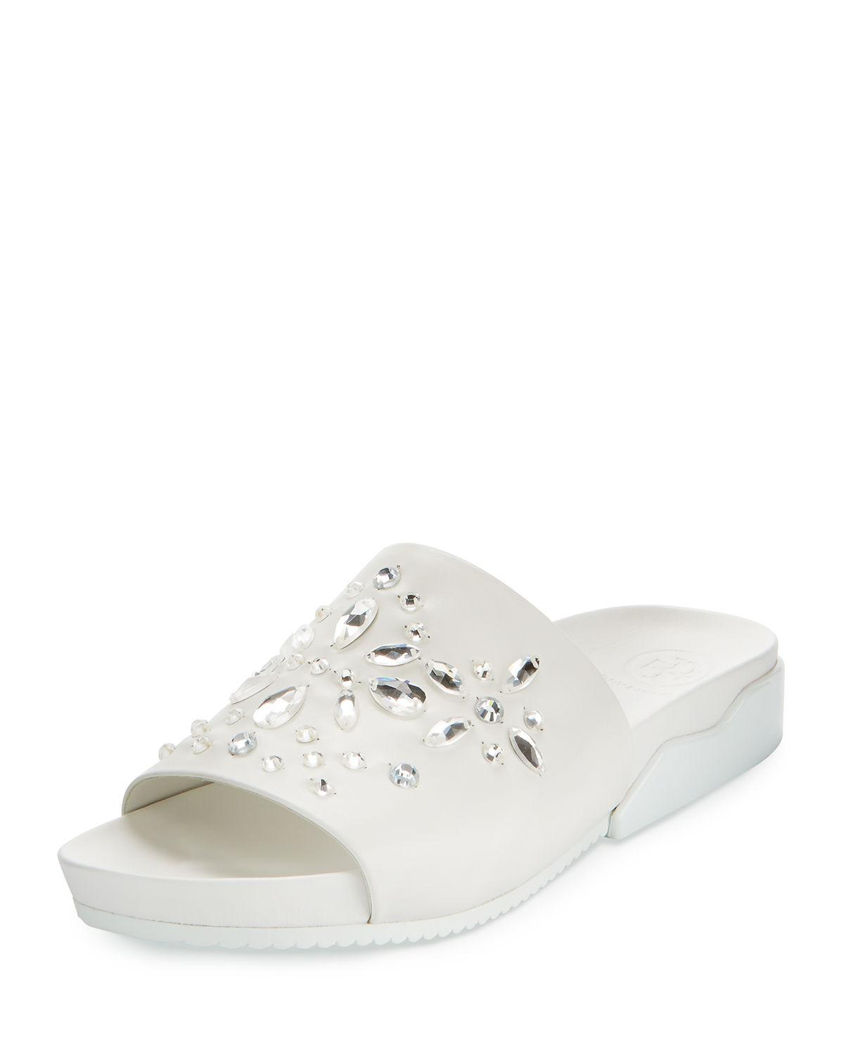 fa05a5b3d875 Lyst - Tory Burch Brae Crystal Leather Slide Sandal in White