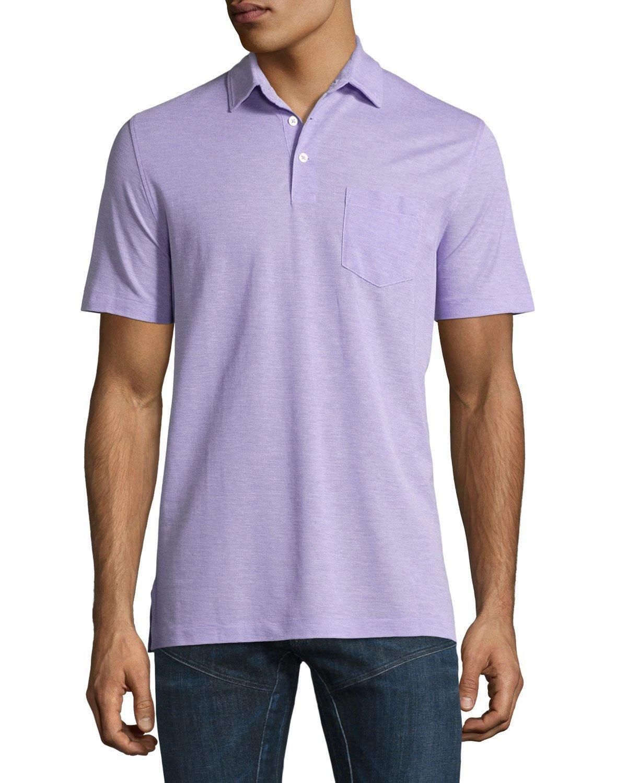 Lyst ralph lauren melange polo shirt in purple for men for Black ralph lauren shirt purple horse