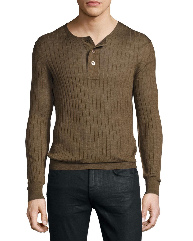 tom ford lightweight cashmere silk ribbed henley sweater. Black Bedroom Furniture Sets. Home Design Ideas