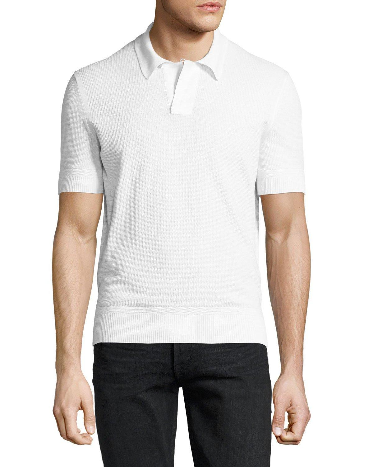 tom ford waffle knit short sleeve pullover in white for. Black Bedroom Furniture Sets. Home Design Ideas