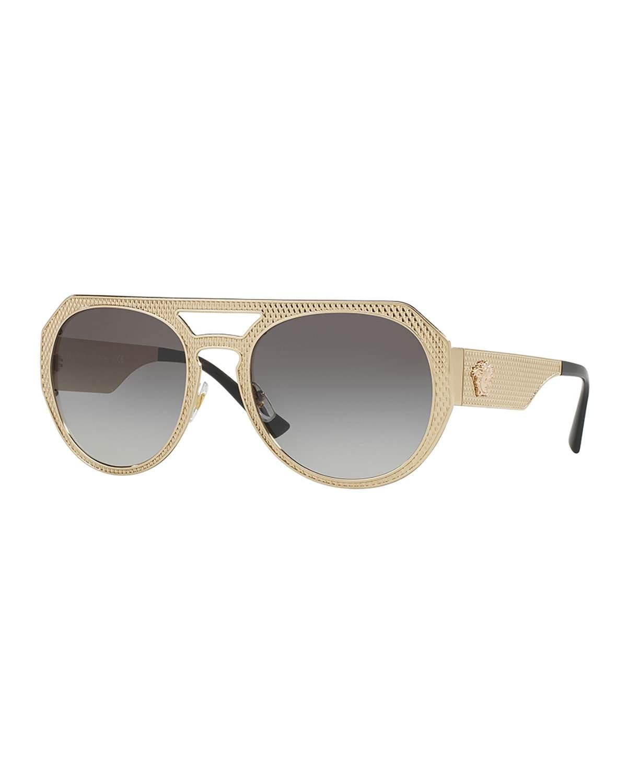 Lyst Versace 60mm Textured Aviator Sunglasses In Metallic