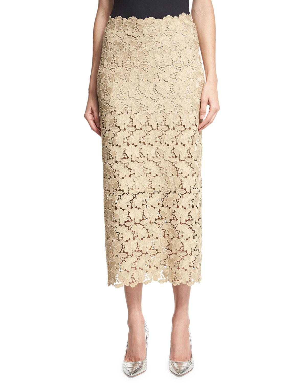robert rodriguez lace midi pencil skirt in lyst