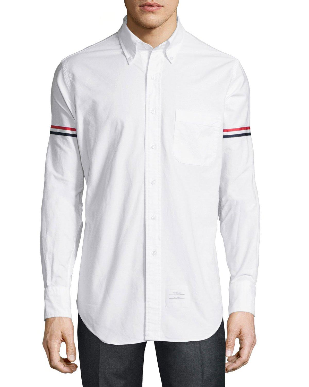 Thom Browne Classic Arm Stripe Long Sleeve Oxford Shirt In