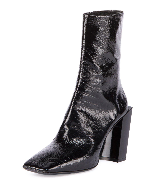 Balenciaga Patent Square Toe Block Heel Bootie In Black Lyst