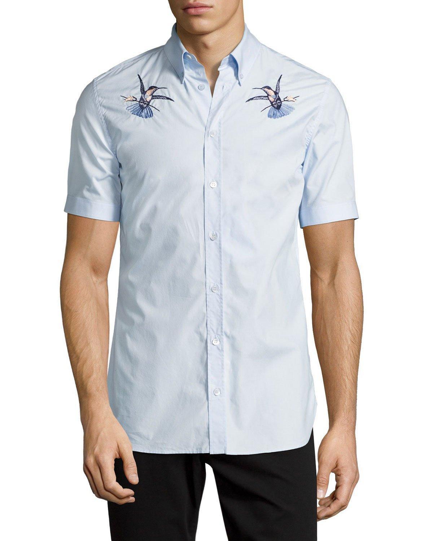 Alexander mcqueen embroidered hummingbird short sleeve for Alexander mcqueen shirt men