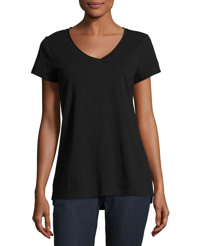 Eileen fisher slubby organic cotton jersey tee in black lyst for Eileen fisher organic cotton t shirt