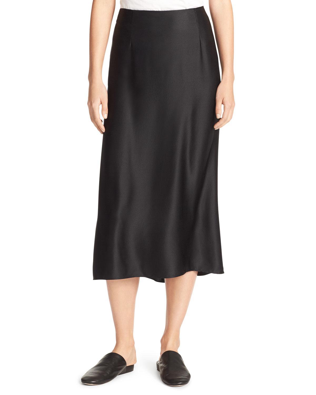 Vince Silk-satin Bias-cut Midi-length Slip Skirt in Black ...