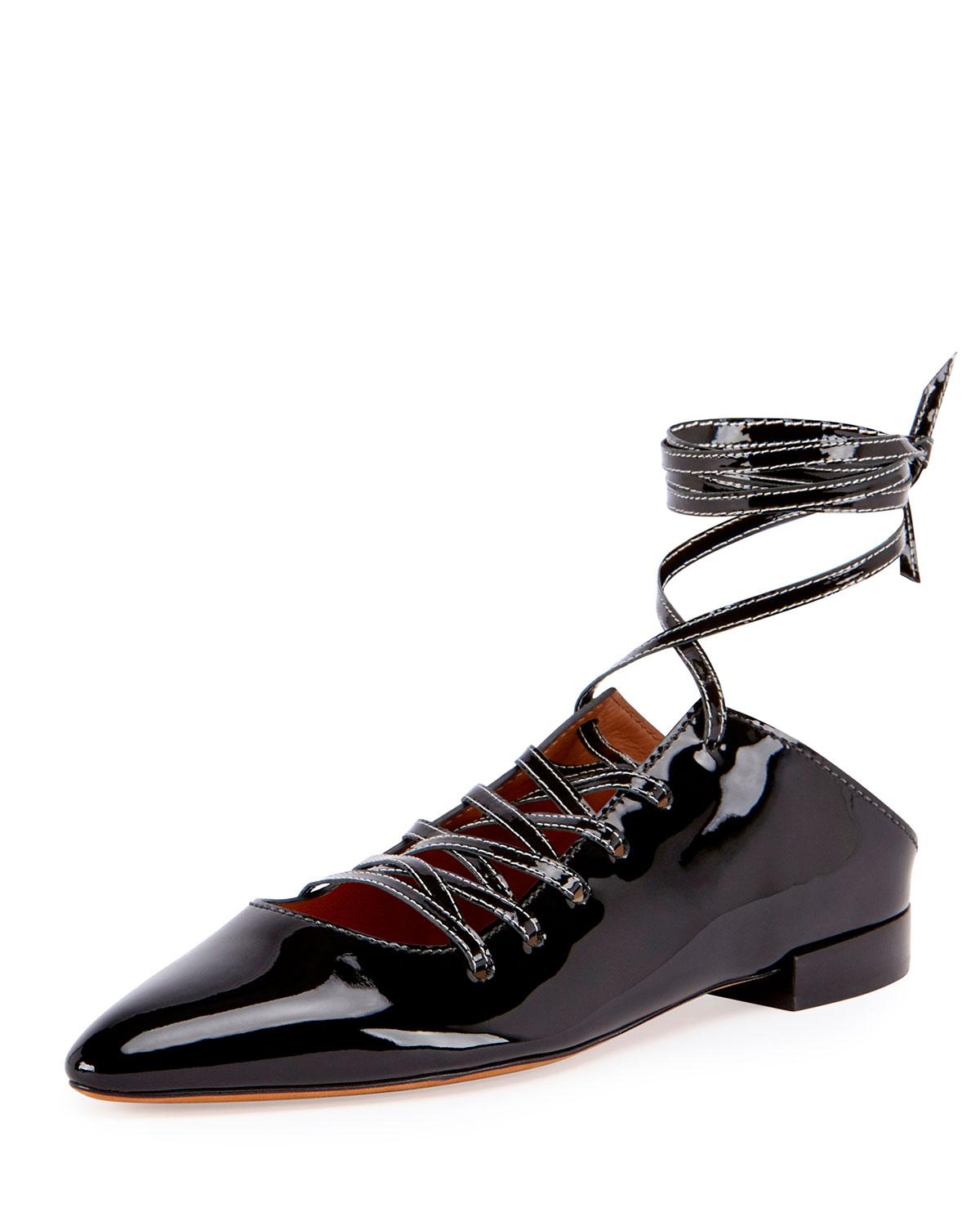 givenchy patent lace up ballerina flat in black lyst