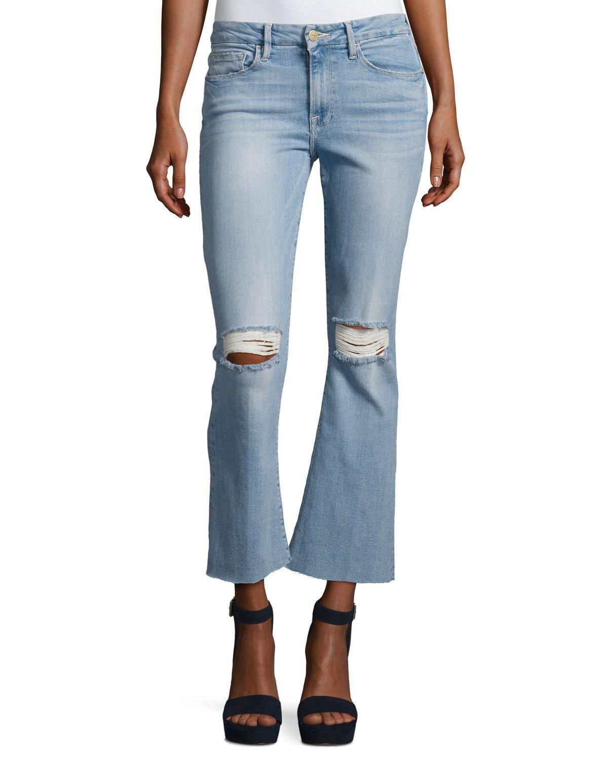 Frame Le Crop Mini Boot Cut Jeans With Raw Edge In Blue Lyst