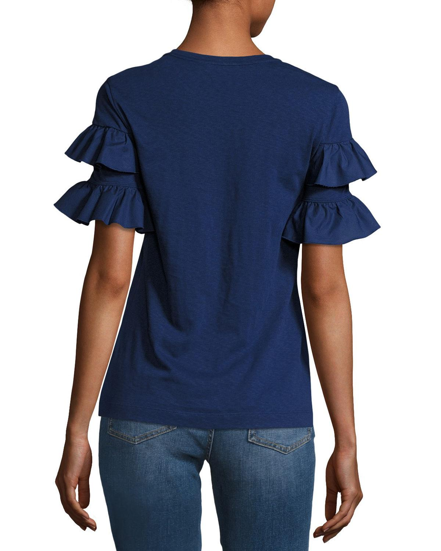 Tory burch lenox short sleeve ruffled t shirt in blue lyst for Tory burch t shirt