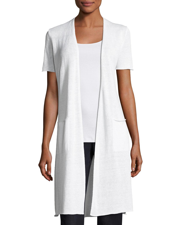 186520741fa Lyst - Eileen Fisher Organic Linen Knit Long Cardigan in White