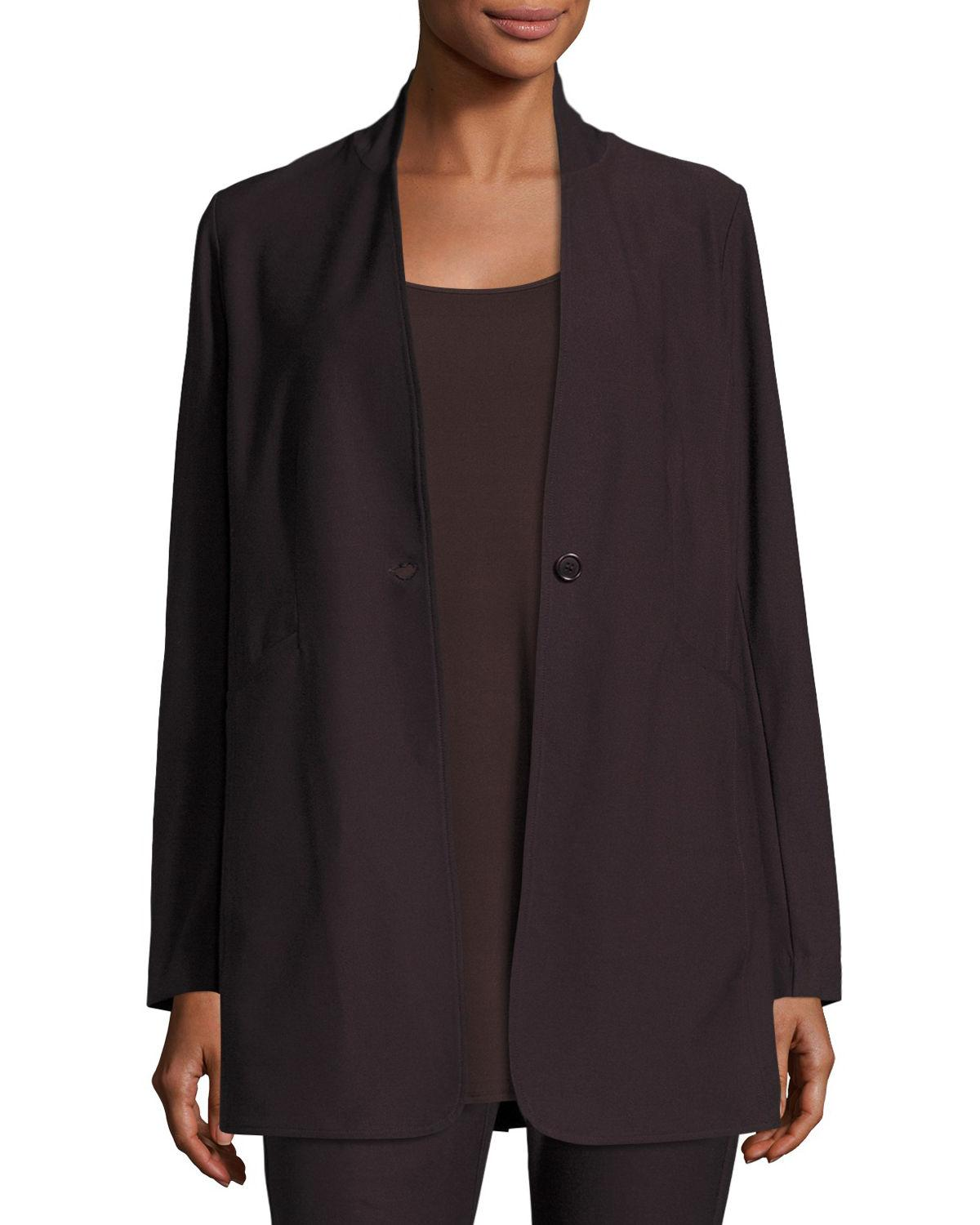 Eileen Fisher Washable Stretch Crepe One Button Blazer In