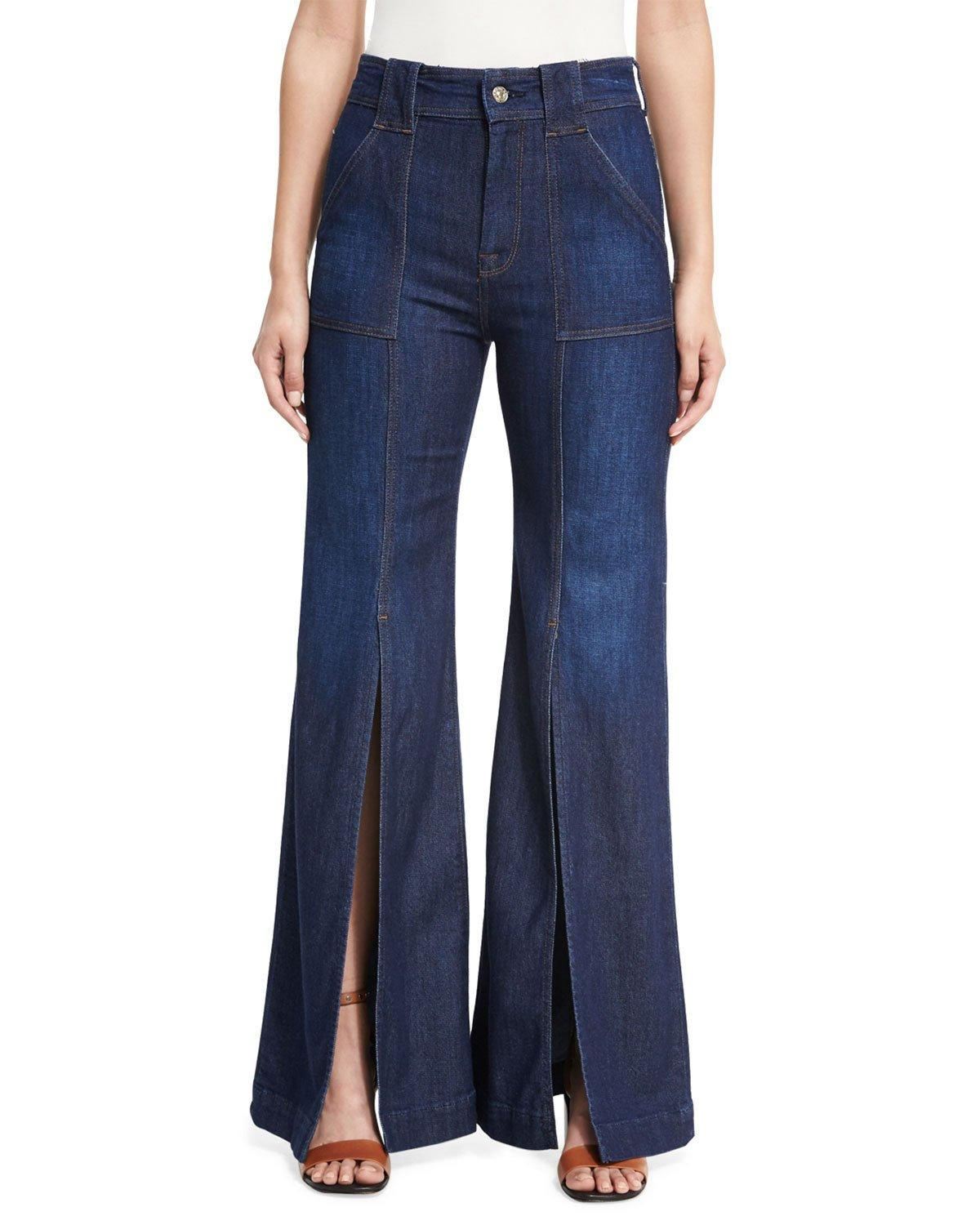 Lyst 7 For All Mankind Palazzo Slit Front High Waist