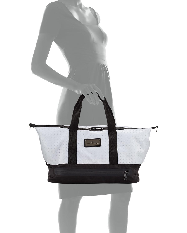Lyst - Adidas By Stella Mccartney Laser-cut Mesh Modern Gym Bag in Black 7fa8a68961