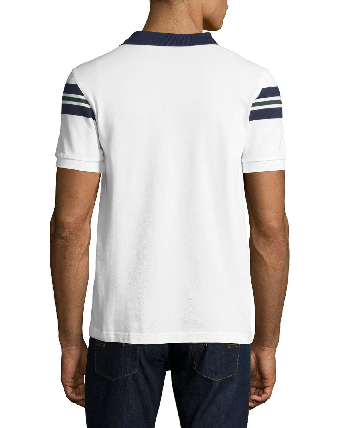 fred perry bomber stripe piqu polo shirt in white for men lyst. Black Bedroom Furniture Sets. Home Design Ideas