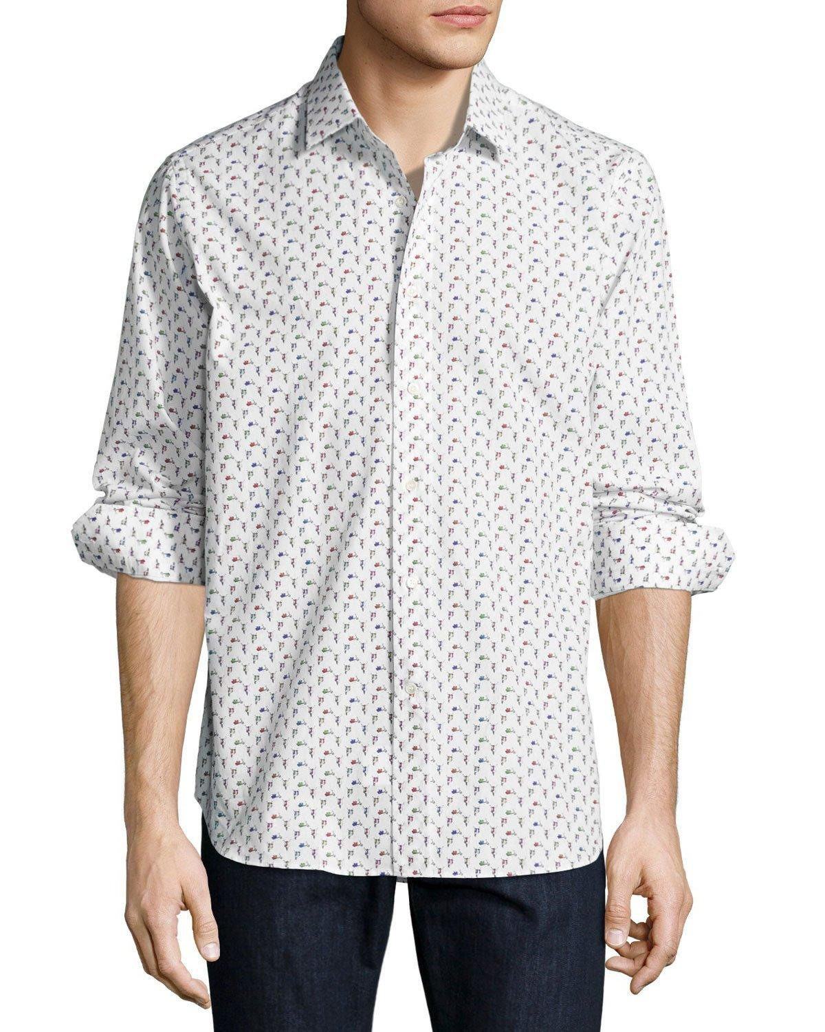 Robert graham r by scooter print long sleeve sport shirt for Robert graham sport shirt