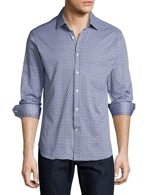 Robert graham r by guitar print sport shirt in blue for for Robert graham sport shirt
