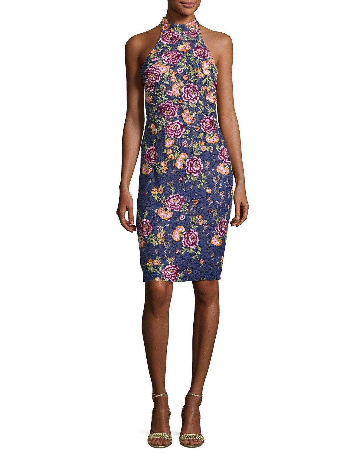 Jovani sleeveless embroidered floral lace cocktail dress