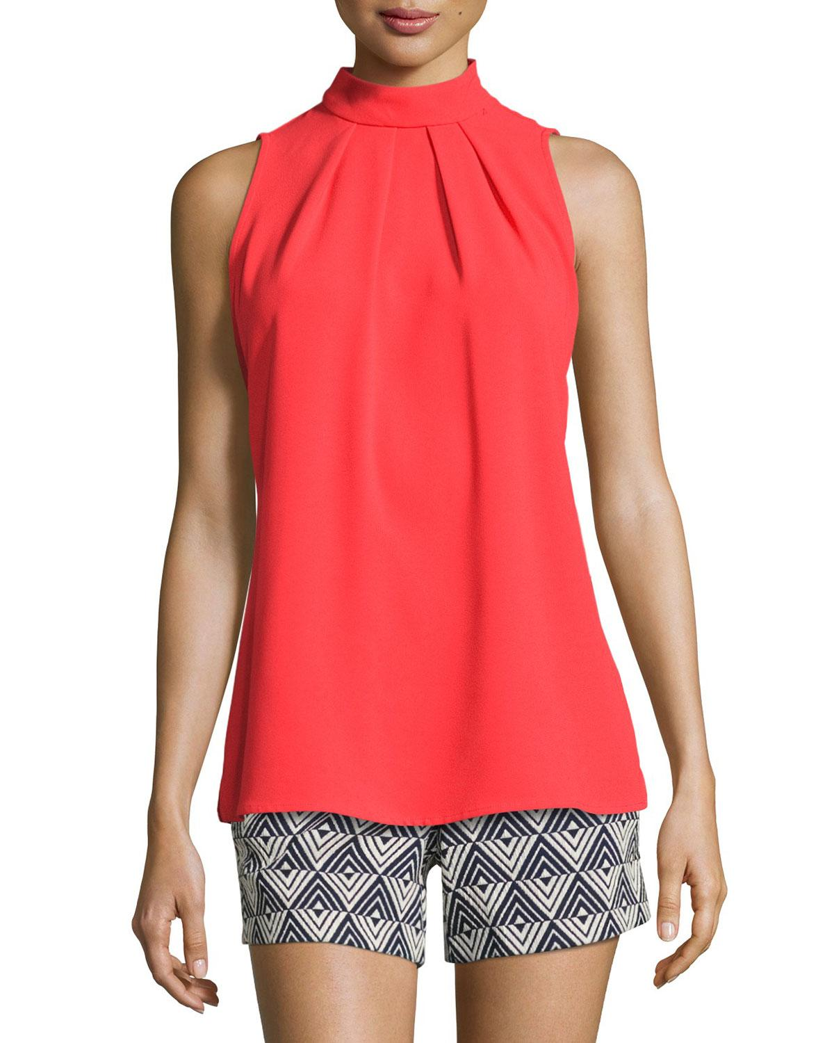 Trina turk Kenji Sleeveless Crepe Mock-neck Top in Red | Lyst | 1200 x 1500 jpeg 143kB
