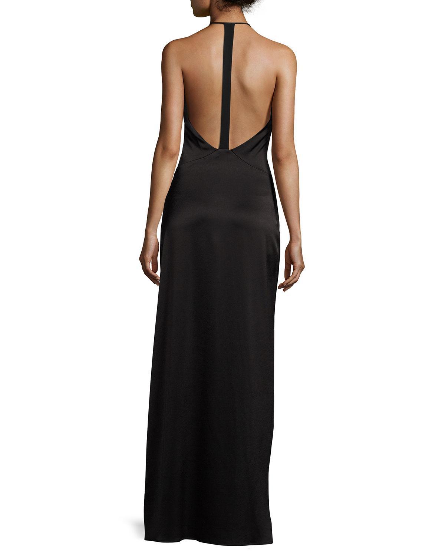 Halston heritage Wrap-style Halter Column Gown in Black