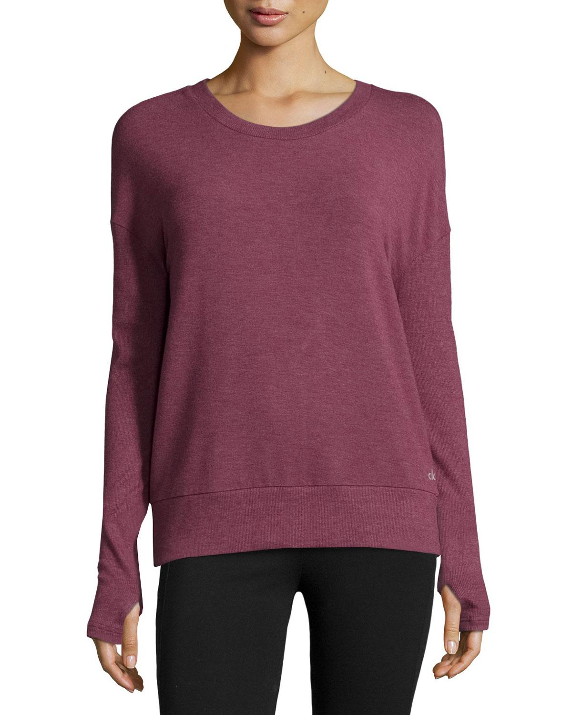 Alo Yoga Intricate Cutout-back Sport Pullover In Purple