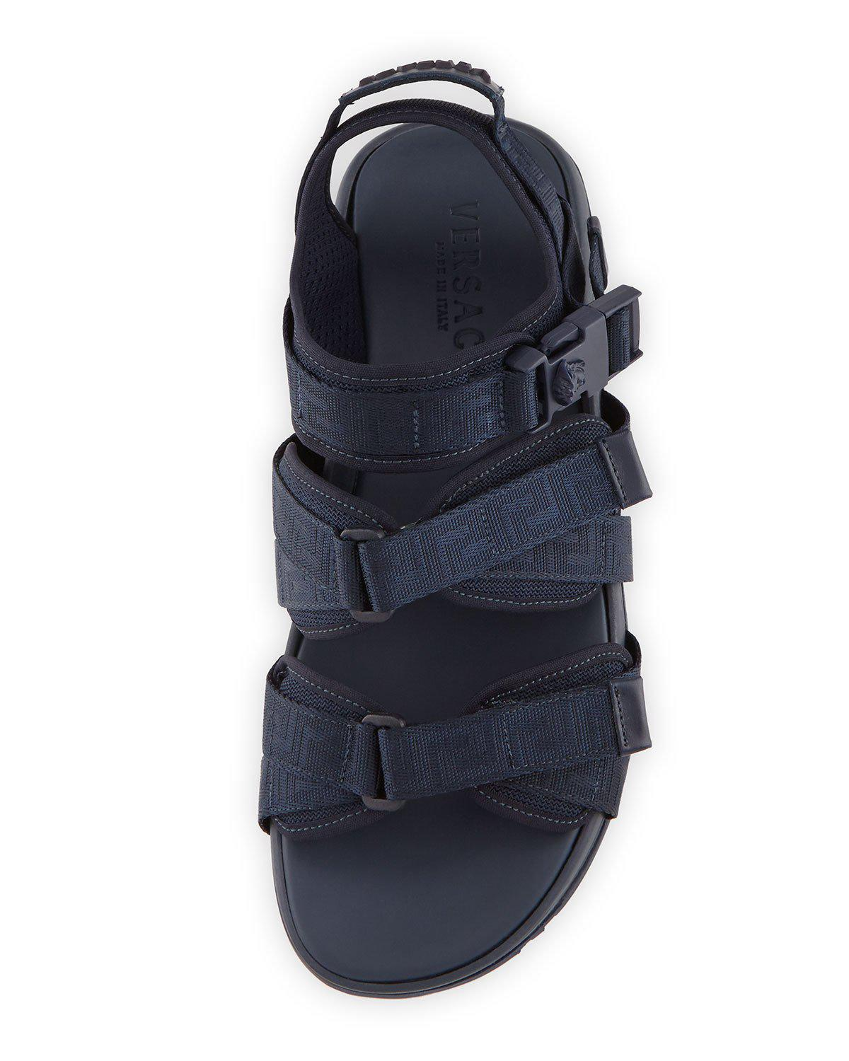 Lyst Versace Men S Greek Key Multi Strap Sandal In Blue