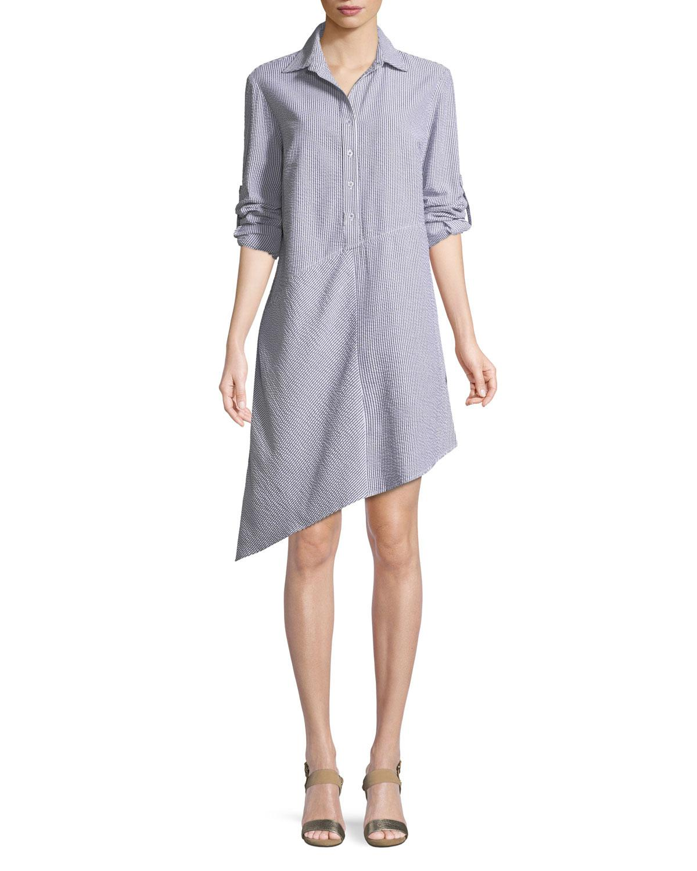 9584ce8ba83d8b Finley - Multicolor Collared Striped Seersucker Asymmetric Shirtdress -  Lyst. View fullscreen