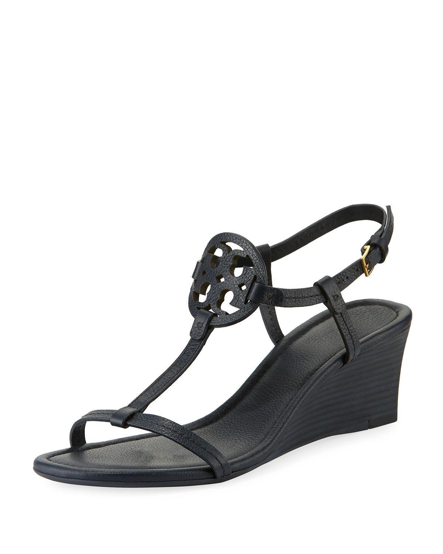 f18607968c1aa Tory Burch. Women s Blue Miller Medallion Wedge Sandals.  268 From Neiman  Marcus